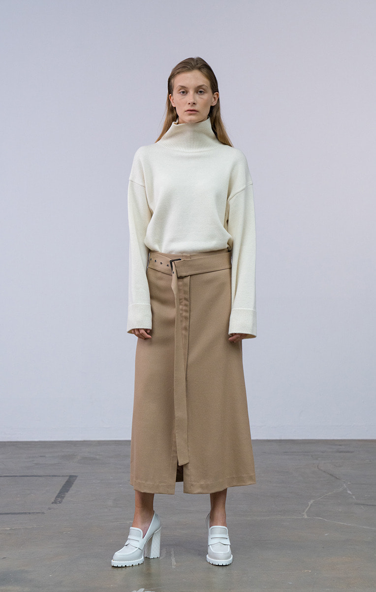 Wool Slit Skirt