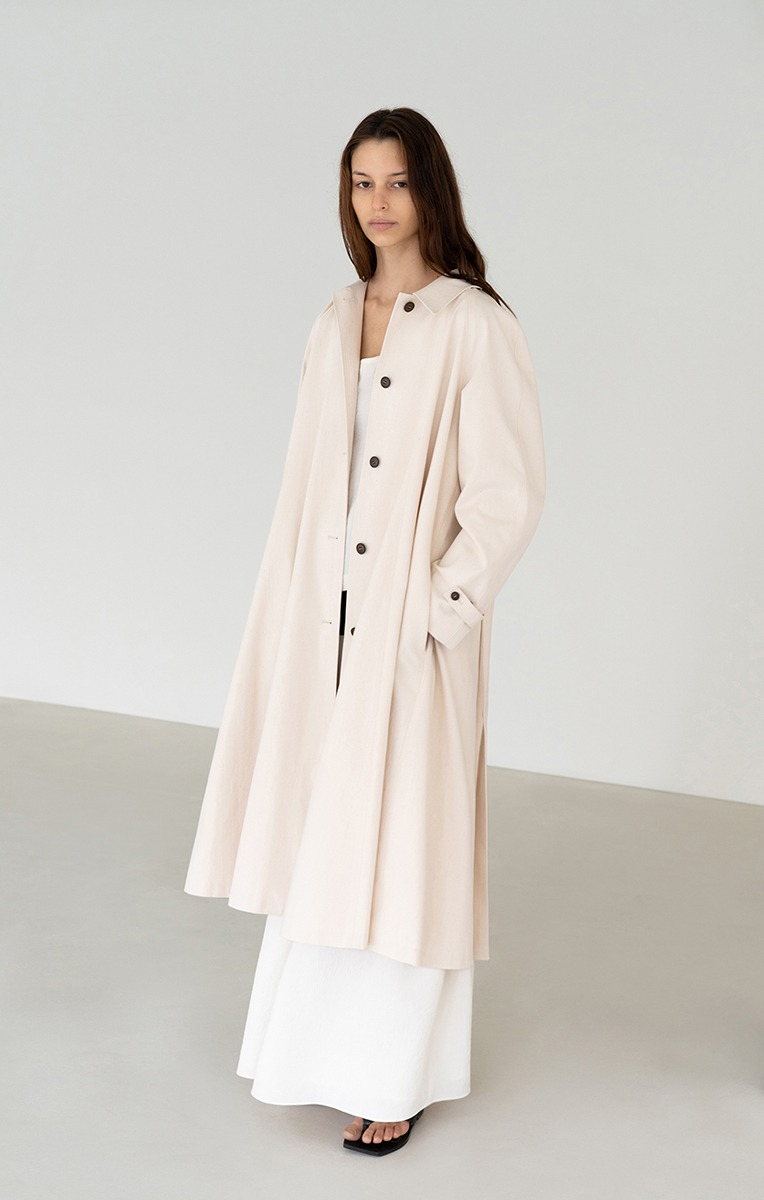 BELTED COTTON TRENCH COAT (CREAM)