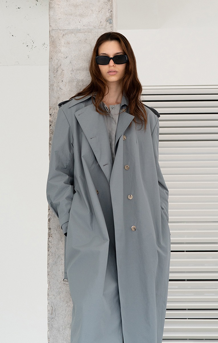 DOUBLE BREASTED NYLON GABARDINE TRENCH COAT                (SLATE GREY)