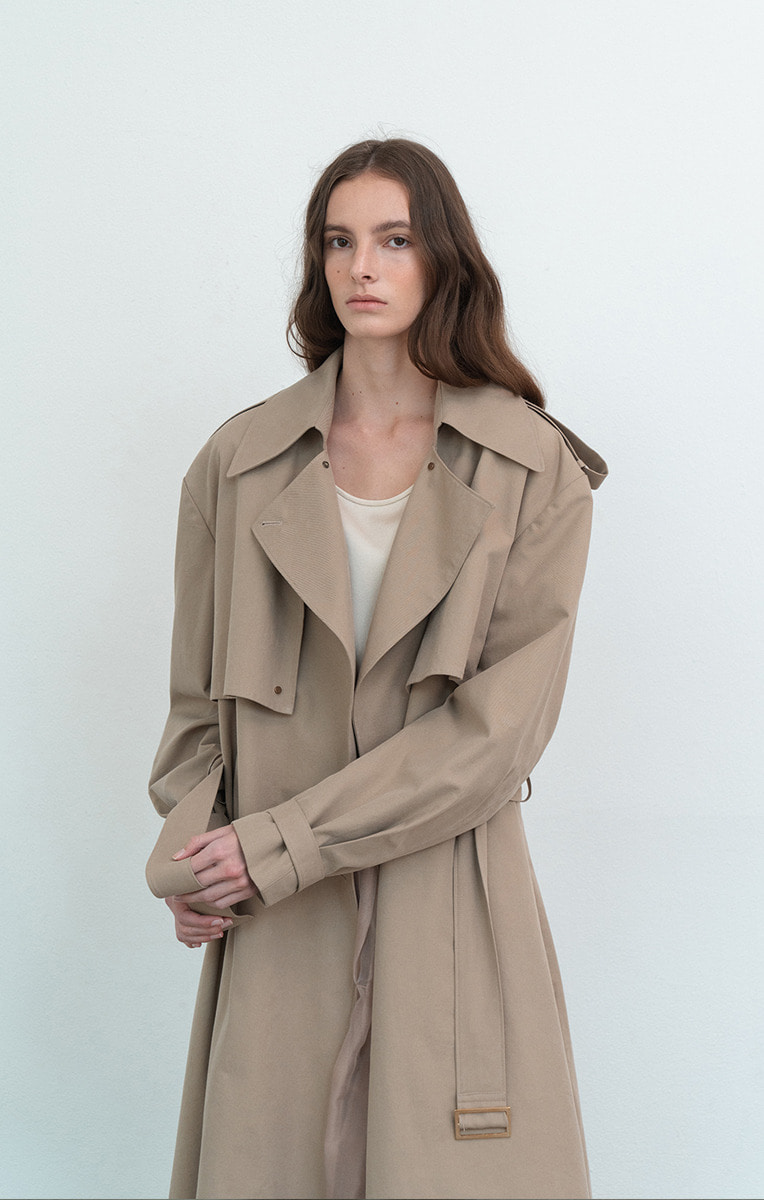 Oversized Collar Trench Coat