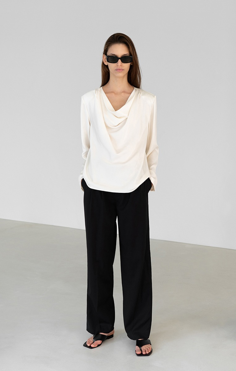 POWER SHOULDER COWL-NECK BLOUSE (OFF WHITE)