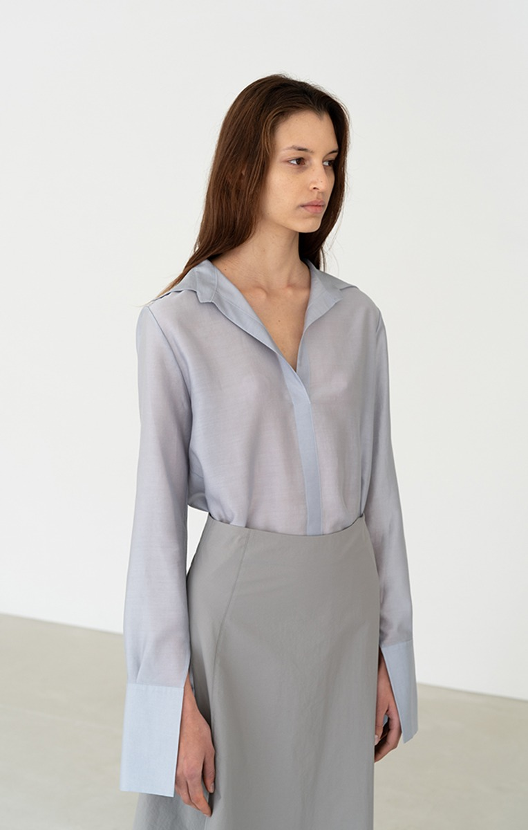SHEER LONG SLEEVE BLOUSE (GREYSH BLUE)
