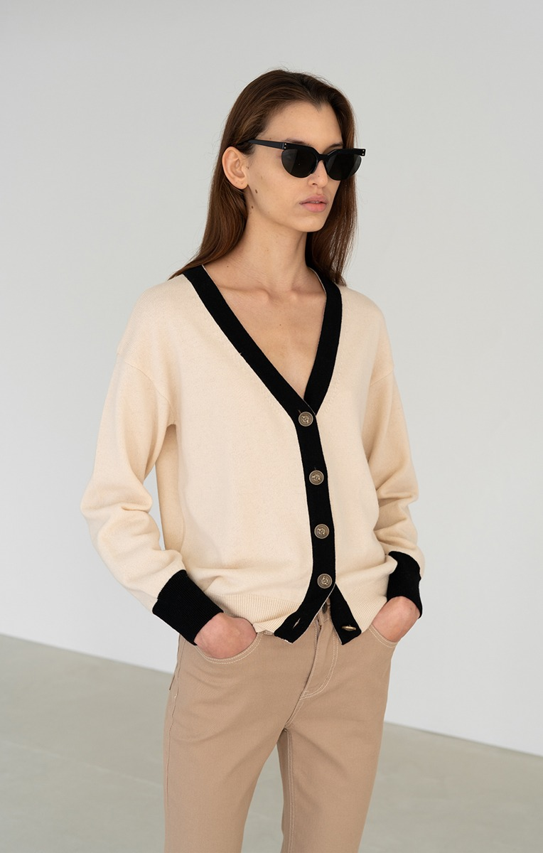 TWO-TONE CARDIGAN (CREAM TWO-TONE)