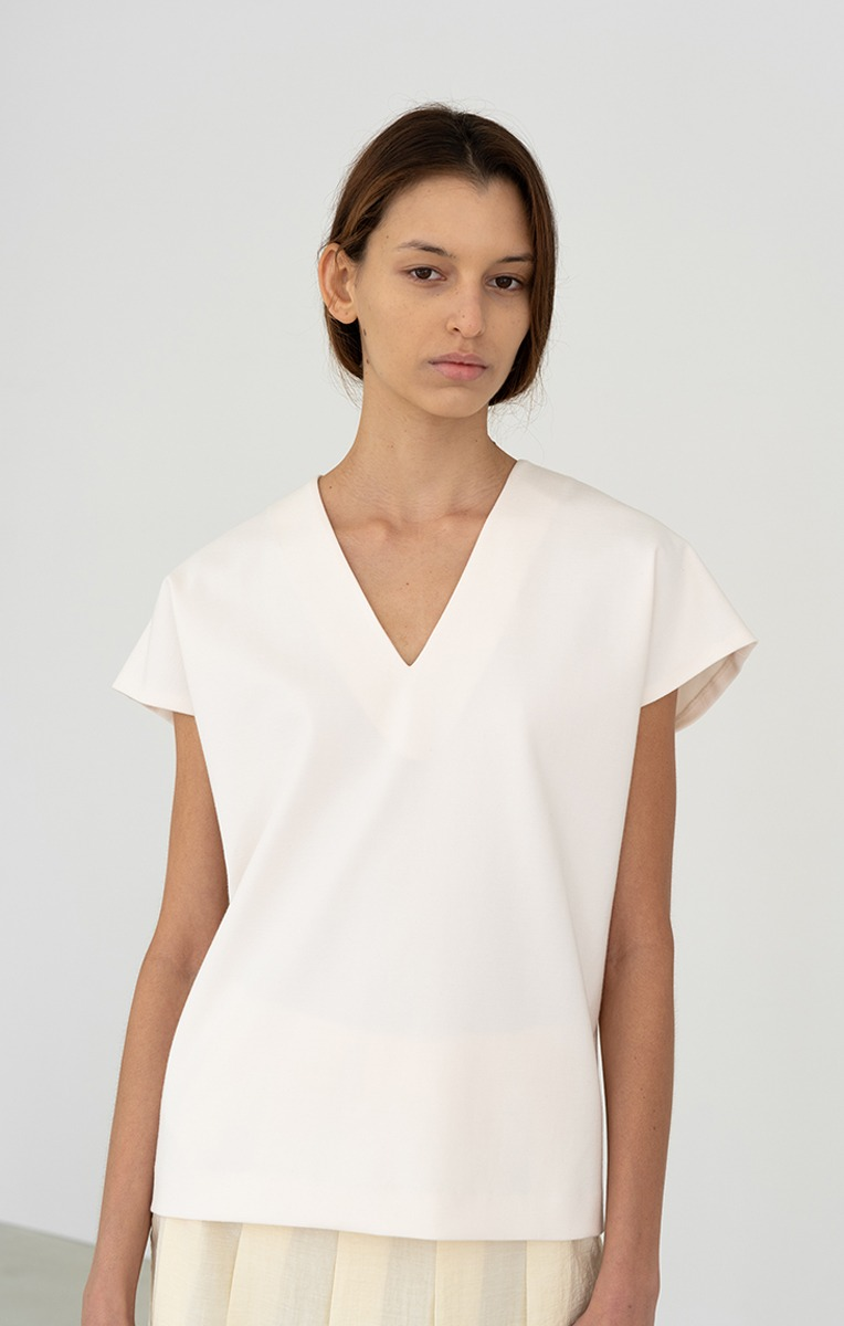 V-NECK TOP (CREAM, BLACK)