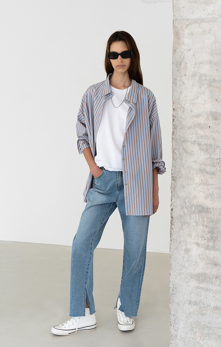 OVERSIZED STRIPE COTTON SHIRT (STRIPE)